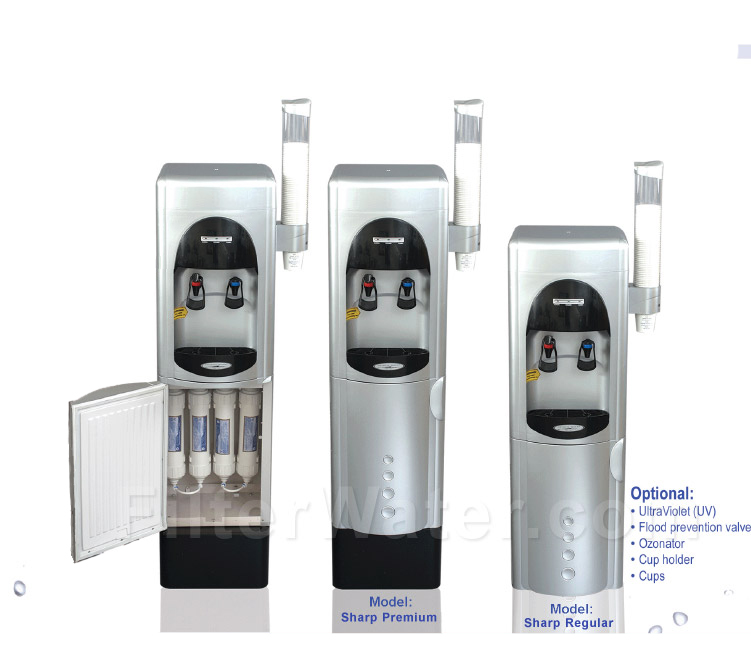 Sharp reverse osmosis floor water cooler cqe wc 00910 for Water fountain filtration system